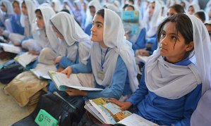 Pakistani girls at school in Mingora, Swat valley. Malala Yousafzai has inspired other girls