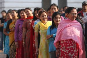 People queue to vote at Basantapur polling station in Kathmandu